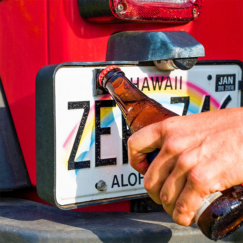 Rear License Plate Mounted Bottle Opener Accessory Fits For Jeep Wrangler JK And TJ Models