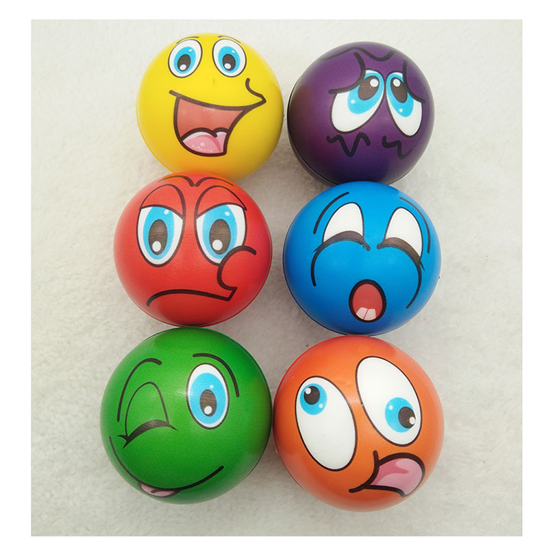 AntiStress Ball Relief Cartoon Smiley Face PU Foam Balls Anti Stress Toys For Children Boys Girls 63mm 6pcs