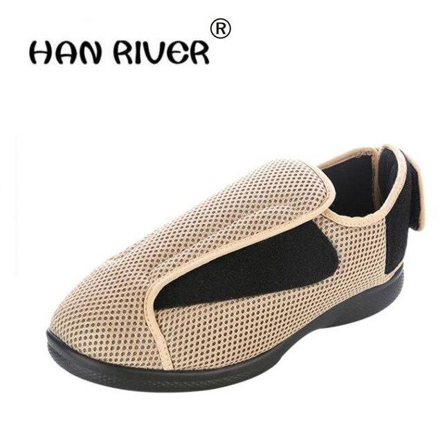 129fe6088b98 Alta-grau confortável respirar sapato Diabético amplo pé inchado das  sapatas dos homens de meia