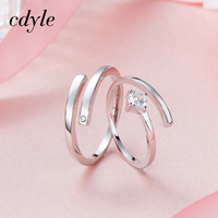 Cdyle Wedding Ring For Lovers S925 Sterling Silver Fashion Jewelry Couple Rings Set Men Women Engagement