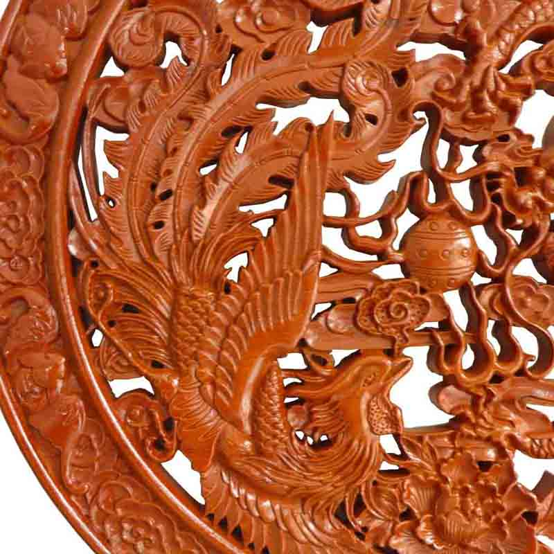 Long Yi Dragon Phoenix Mirror Pendant Mahogany Wood Carving Ornaments Home Furnishing Decorative Craft Gift In Figurines Miniatures From Garden On
