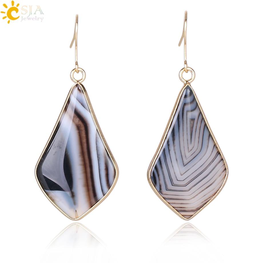 CSJA Dangle Earrings for Women Gold Color Natural Stone Ear Pendants Black Onyx Cat Eye Water Drop Fashion Dangler Jewelry E272