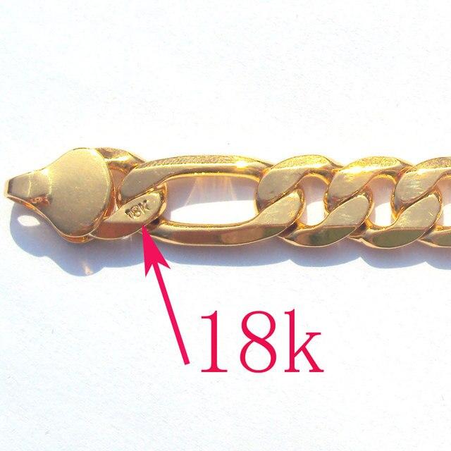 18 k sólido goldgf acabamento autêntico 18 k carimbado 10mm fino figaro corrente colar masculino feito em melhor 600mm 1