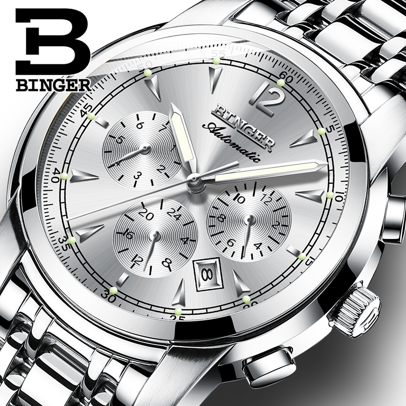 Multi function Mechanical Watch Men Switzerland BINGER High end Watch Automatic Calendar Week Month Sapphire Luminous Waterproof|Mechanical Watches| |  - title=