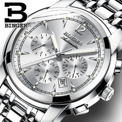 Wielofunkcyjny zegarek mechaniczny mężczyźni szwajcaria BINGER wysokiej klasy zegarek automatyczny kalendarz tydzień miesiąc Sapphire świecenia wodoodporna