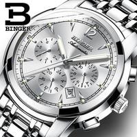 Zegarek meski Switzerland BINGER High end Mechanical Watch Men 24 hours Week Calendar Sapphire Full steel Luminous Men Watch
