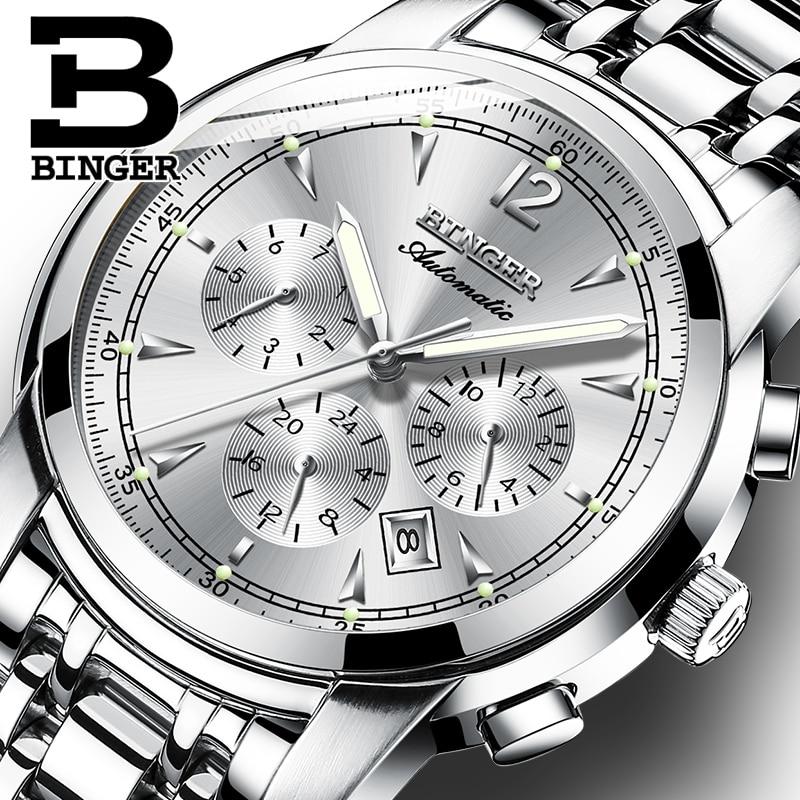 다기능 기계식 시계 남자 스위스 binger 하이 엔드 시계 자동 달력 주 달 사파이어 방수-에서기계식 시계부터 시계 의  그룹 1