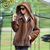 2018New Real Mink Fur Coat With Hood Coat Fur Natural Women Real Mink Fur Outwear Jacket Genuine Warm Winter Coat Luxury MKW 086