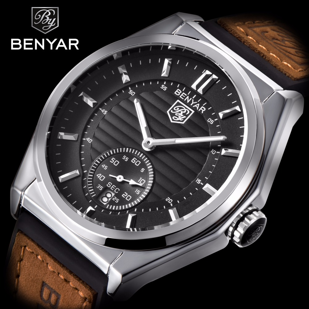 chronograph leather watch for benyar military reloj clock in hombre mens sport from quartz casual business strap wristwatch men watches item