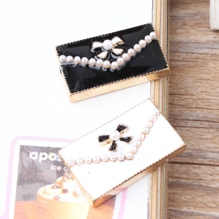 10PCS Pearls Decorated Alloy DIY Jewelry Findings Gold Tone Enamel Fashion Women Handbag Oil Drop Button Patch Sticker Craft