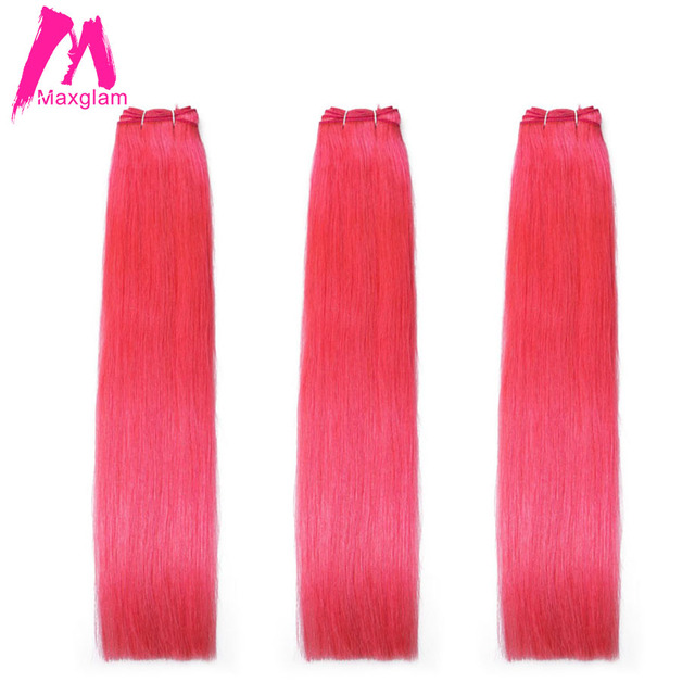 Maxglam Brazilian Hair Weave Bundles Straight Hot Pink Color Remy