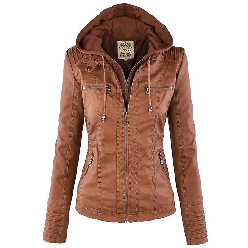 Women Jackets Female Hat Removable Women Basic Coats Waterproof Windproof 2018 Women's Faux Leather Jacket Long Sleeve