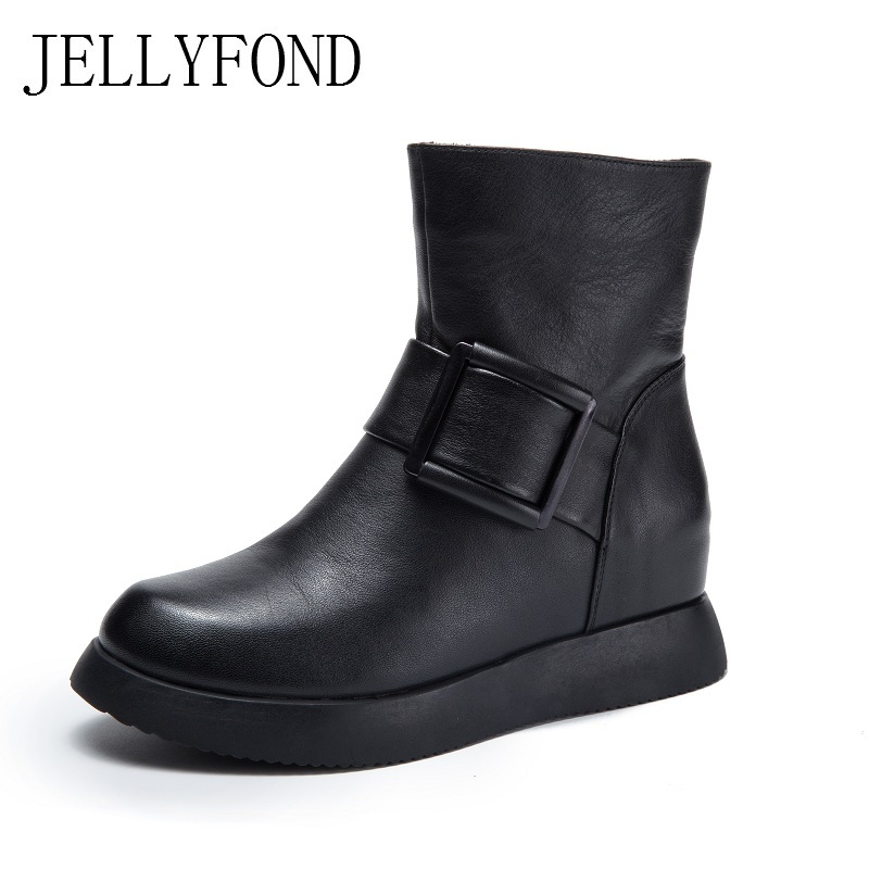 JELLYFOND Black Genuine Leather Women Ankle Boots Buckle Strap Hidden Wedge Platform Boots 2017 Designer Handmade Shoes Woman women s genuine suede leather hemp wedge platform slip on autumn ankle boots brand designer leisure high heeled shoes for women