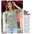 T-Shirt Women 2015 Fashion Stripe Print Contrast Color Shirt Long Sleeve V-Neck Casual T Shirt Tops