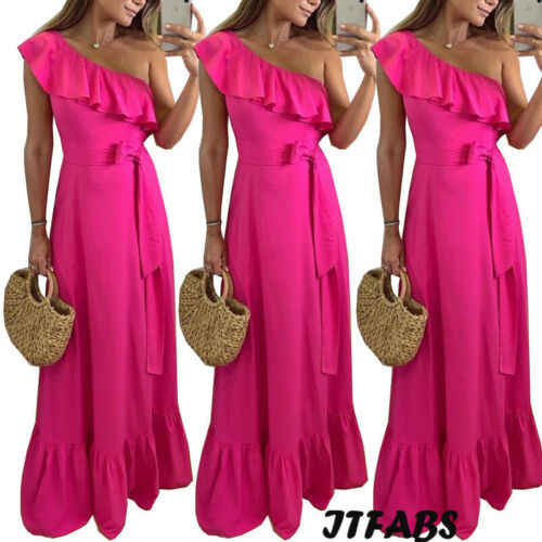2019 Women Summer Boho Long Maxi dress One Shoulder Evening Party Beach Dress Sundress