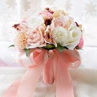 Handmade Kwiat Jedwabiu Wedding Bouquet Rose Sztuczne Bukiety Ślubne Kwiaty Fałszywy Kwiat Dalia Ślub Dekoracji Domu