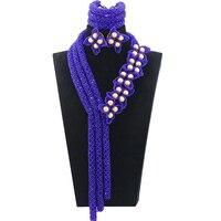 2017 роскошный королевский синий африканские украшения бисер набор нигерийские Свадебные хрустальные бусины свадебное ожерелье набор Беспл