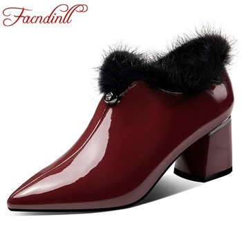 FACNDINLL cow leather Pumps women pointed toe footwear fashion zip shoes female high heel shoes woman 2019 new dress party shoes