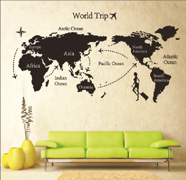 DIY Travel World Map Print Removable Vinyl Wall Sticker Room Living Room  Bedroom Decor Decal Paper