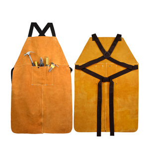 Image 3 - Men Women Blacksmith Cowhide Leather Wear resistant Apron Thicken Working Yellow Electric Welding Adjustable Front Pocket