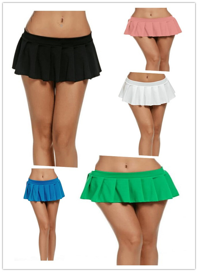 5 Colors Sexy Short Mini Skirt Women Micro Mini Skirt Dance Clubwear Metallic Pleated Skirt S-XXL