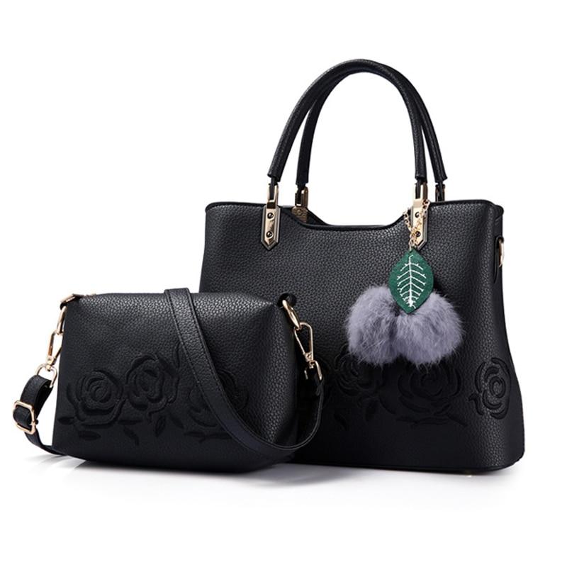 MIWIND Luxury Women Leather Handbag Ladies  Female Leather Shoulder Bag Women's Embroidery Flower Handbag  TLS1277 miwind 100