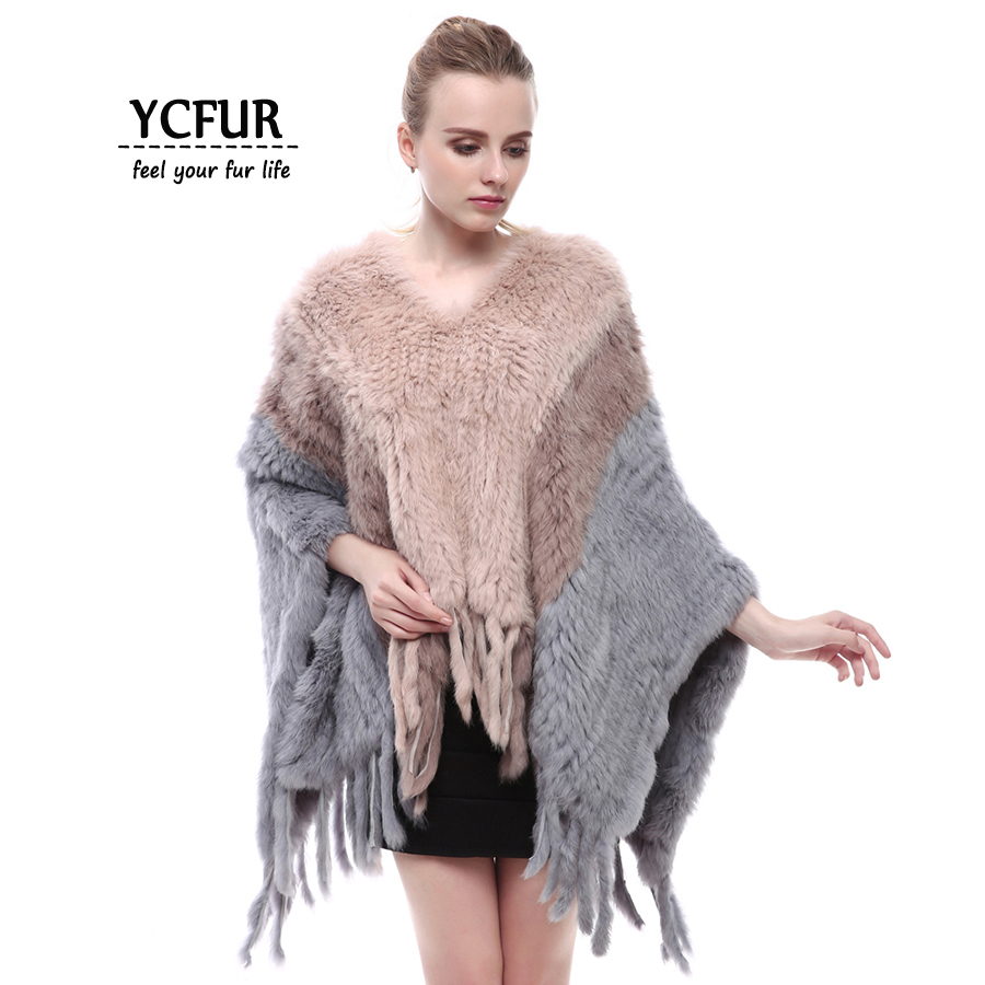 YCFUR Women Poncho Shawl Winter Handmade Knit Rabbit Fur Shawls Scarfs With Tassels Natural Fur Stoles Wraps Scarves Female