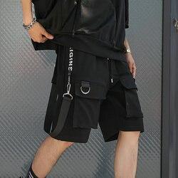 Мужские летние шорты в стиле хип-хоп, уличная одежда с черными лентами 2020, мужские шорты-бермуды с несколькими карманами в стиле панк, повсед...