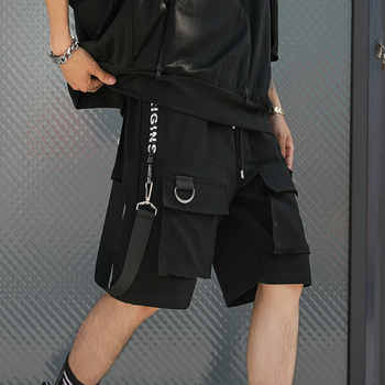 Hip Hop Summer Shorts Men 2019 Black Ribbons Streetwear Bermuda Man Shorts Multi-pocket Punk Casual Knee Length Short Pants Men - DISCOUNT ITEM  40% OFF All Category