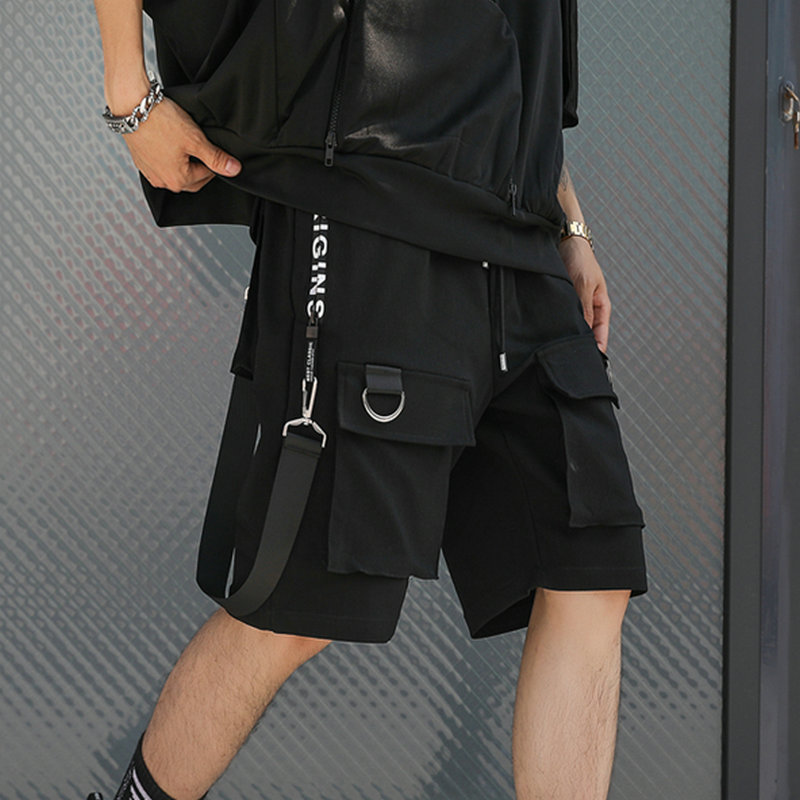 Hip Hop Summer Shorts Men 2020 Black Ribbons Streetwear Bermuda Man Shorts Multi-pocket Punk Casual Knee Length Short Pants Men