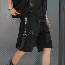 Pantalones cortos Hip Hop de verano para hombres 2020 cintas negras Streetwear Bermuda Hombre Pantalones cortos multibolsillos Punk Casual rodilla pantalones cortos hombres