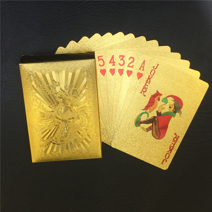 Washable 24K Golden Dragon Playing Cards PVC Waterproof 54pcs Poker Board Game Deck Durable Gold Plated Foil Poker Card Set (6)