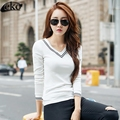 New Spring Winter V-collar Long Sleeve T-shirt Women T Shirts Cotton Casual Striped T-shirts For Women Tops Female White T Shirt