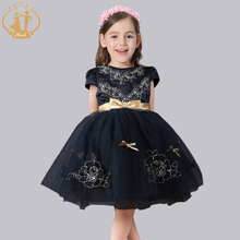 Nimble princess kids dresses for girls golden sashes bow flower appliques wedding evening ball dress