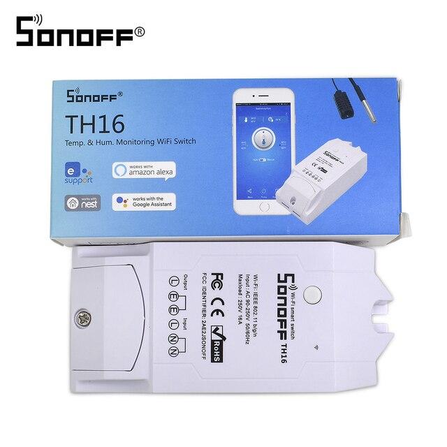 Itead Sonoff TH16 Wifi Schakelaar Relaismodule Voor Slimme Domotica Ondersteuning Temperatuur En Vochtigheid Sensor Afstandsbediening