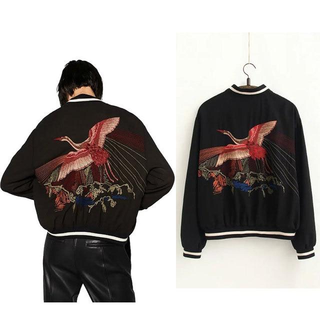 Abrigo Reversible Bordado Phoenix Bird 2016 Mujeres Chaqueta de Bombardero Chaqueta de Abrigo prendas de Vestir Exteriores Pilotos En Ambos Lados