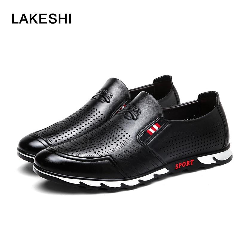 Men Shoes Casual Oxfords Shoes 2017 Comfortable Men Business Flats Shoes Breathable Hole Black