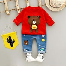 ZWXLHH Hot Sell  Baby Girls Boys Clothes Sets Infant Toddler Cotton Suits cartoon bear coats+pants 2pc suit Kids Children