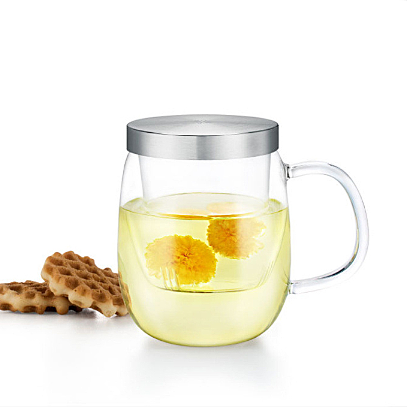 Heatproof Hand Blowing Glass Mug with Stainless Steel Lid and Tea Filter High Quality Small Glass Teapot Clear Body SH259 139