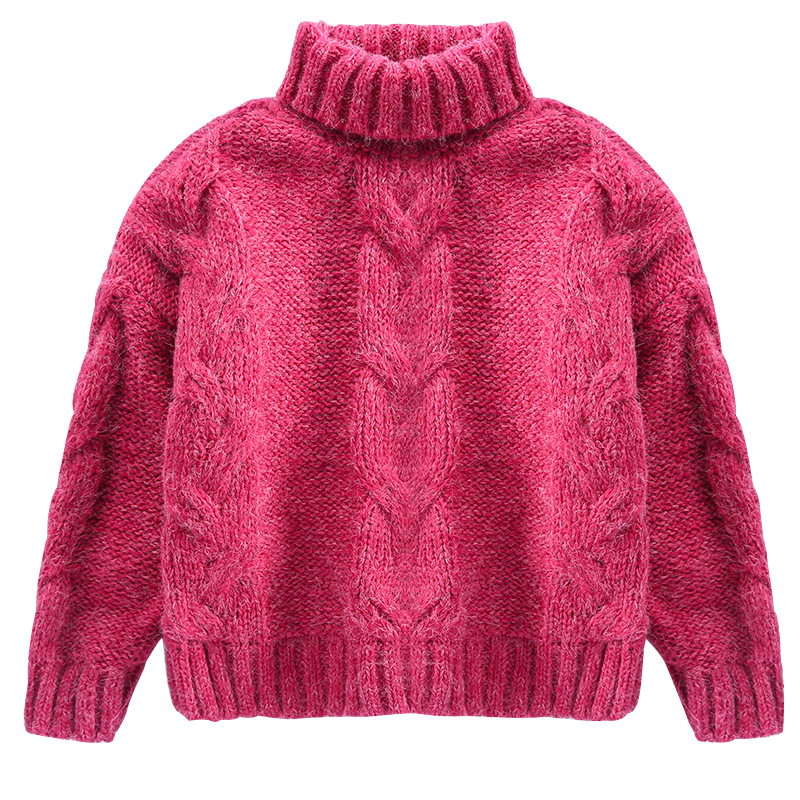 New 2018 Girls Sweaters Thick Kid Solid Knitted Pullover Turtleneck Children's Sweater Autumn Winter Kids Girls Clothing DQ728 autumn winter children turtleneck kids sweaters 10 solid colors girls sweater boys pullover basic shirt 2 10 years