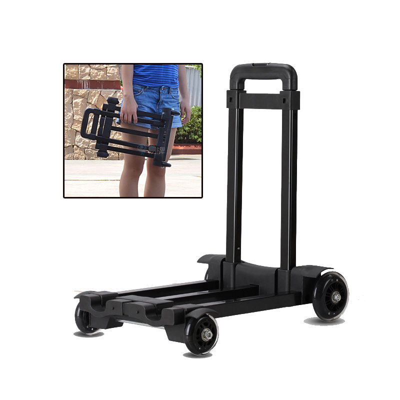 Portable Mini Travel Luggage Cart Folding Hand Carts Trolley Small Car Towers 4 Wheels Mute Household Shopping Trailer