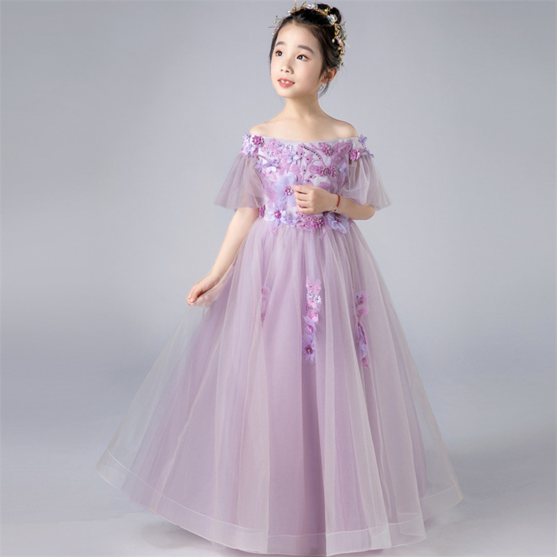 Luxury Children Kids Purple Color Birthday Wedding Party Tutu Flowers Dress Baby Girls Elegant Pageant Ball Gown Long Mesh Dress cute green princes puffy tutu dress children girls ball gown dress add multilayer flowers handmade tutu dress for wedding party