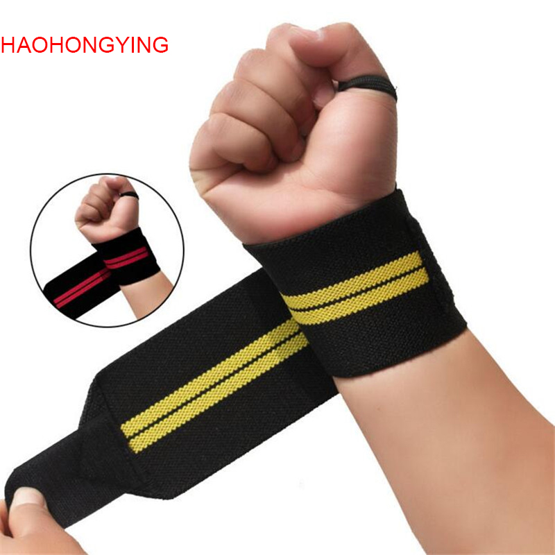 1Pair Weight Lifting Sport Wristband Gym Wrist Brace Thumb Support Strap Wraps Bandage Fitness Training Safety S302
