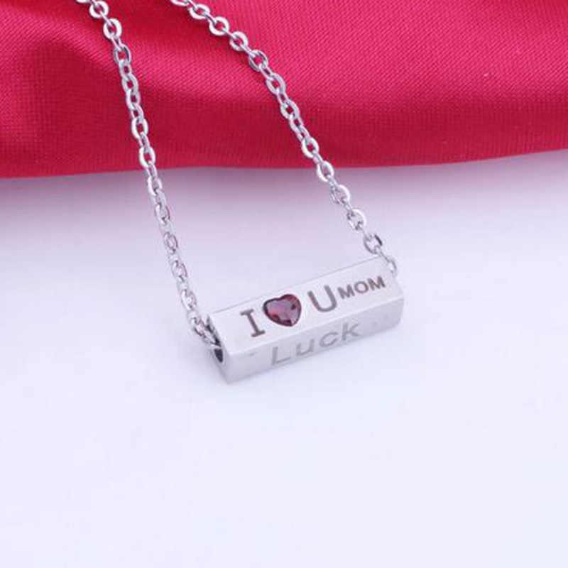 """""""I Love U Mom"""" ожерелье с подвеской и верой в удачу ожерелье женское CZ красное сердце титановое привлекательное эффектное ожерелье"""