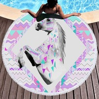 Europe Style 3D Unicorn Large Round Beach Towel Tassel Tapestry Floral Yoga Mat Dreamlike Towel STJ 08