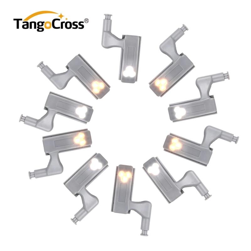 TangoCross 2pcs Under Cabinet Lights Kitchen LED Light Sensor LED Cocina For Wardrobe Closet Cupboard Hinge Battery Powered