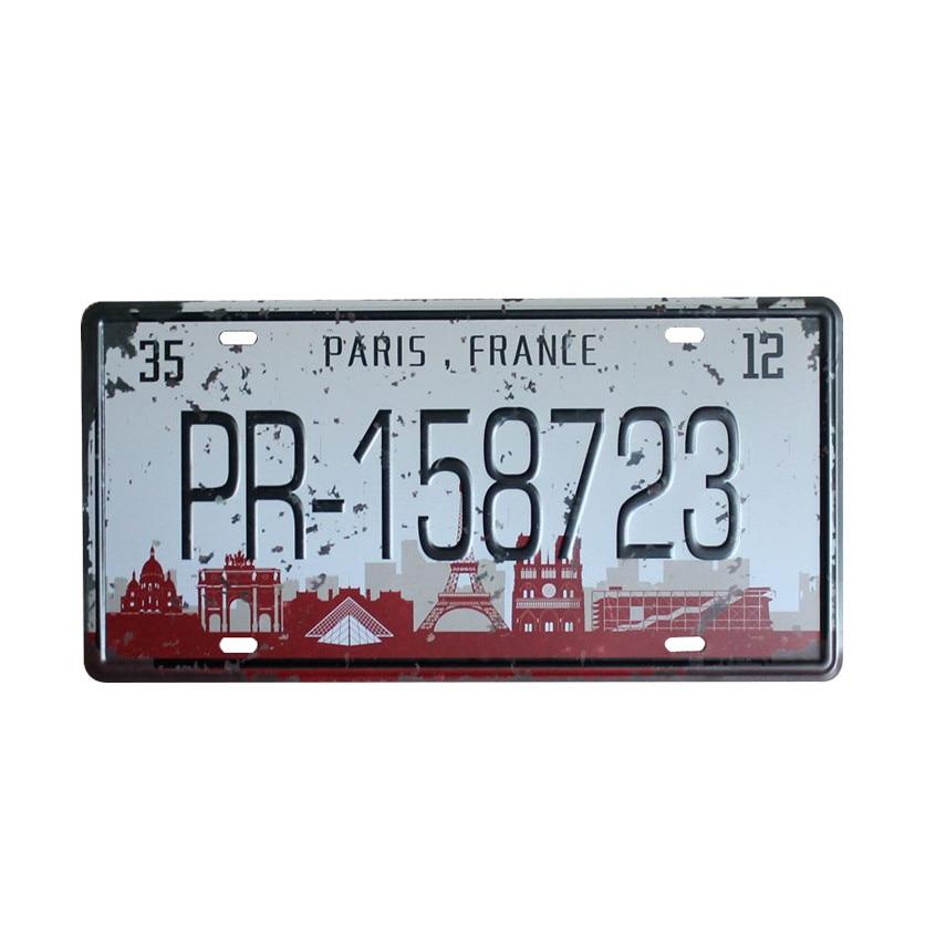 Paris france pr 158723 car number license metal tin sign for Garage paris bar