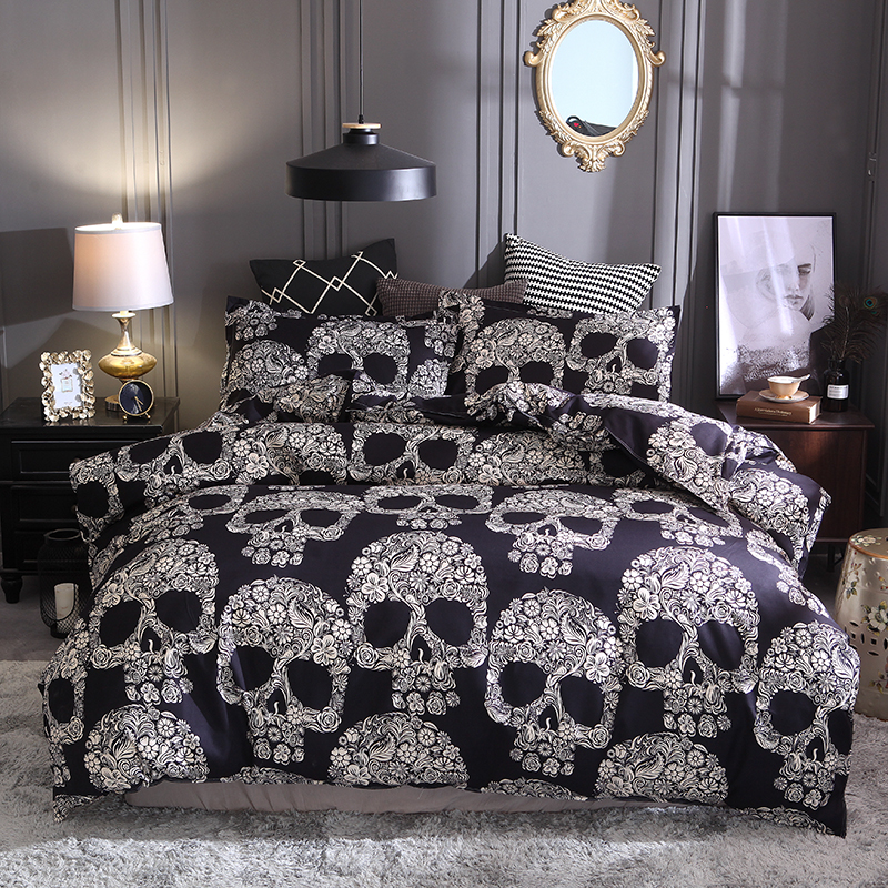 Bed Home textile Kit Quilt cover 3D skull Head print set no sheets large size European style polyester fiber customizable