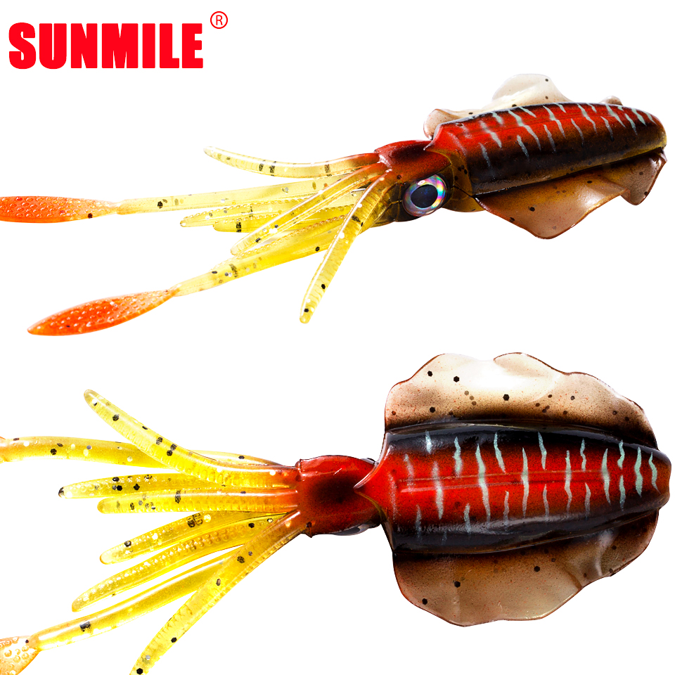 SUNMILE pêche Leurre Souple 20g 150mm lumineux/UV Calamar leurres de pêche pieuvre Calamar Leurre Souple pour Wobbler de mer appât Souple