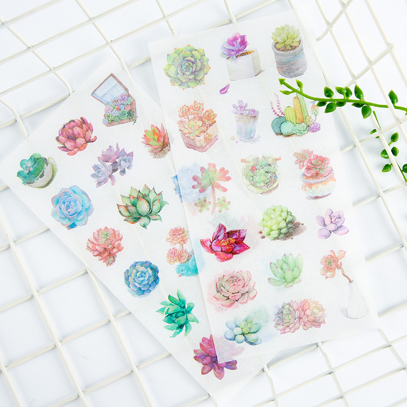 6 pcs/pack Succulent Plants Stickers Set Decorative Stationery Stickers Scrapbooking DIY Diary Album Stick Label spring and fall leaves shape pvc environmental stickers decorative diy scrapbooking keyboard personal diary stationery stickers